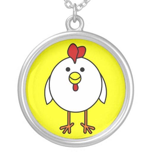 Pollo feliz lindo colgante redondo
