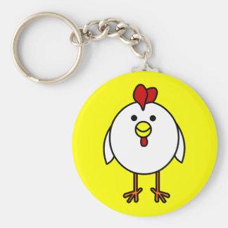 Pollo feliz lindo llavero redondo tipo pin