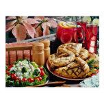 Pollo frito, flores del ponche de fruta postales