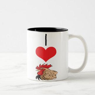 pollo, gallo taza de café de dos colores