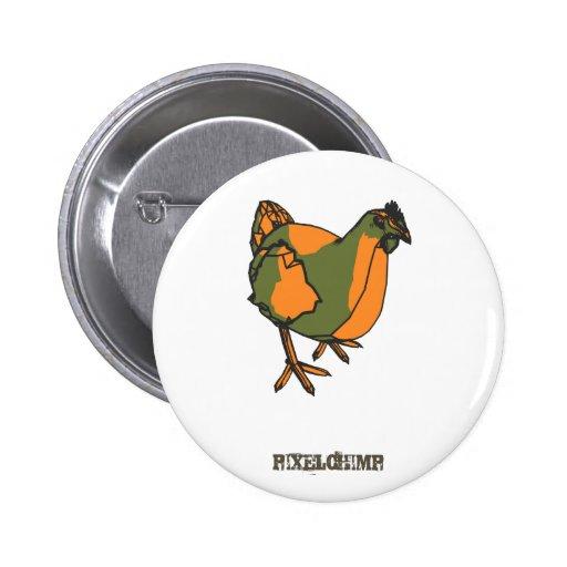 Pollo gráfico pin redondo 5 cm