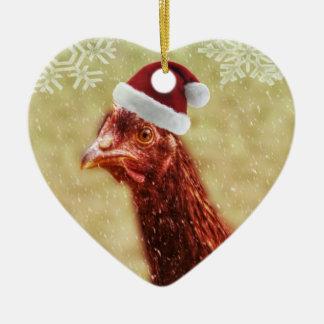 Pollo hivernal del gorra de Santa del copo de Adorno De Cerámica En Forma De Corazón