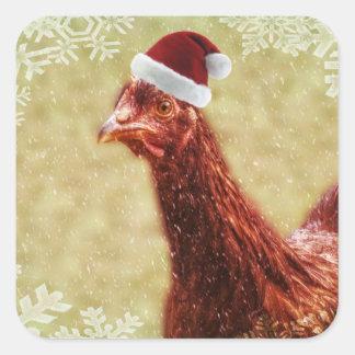 Pollo hivernal del gorra de Santa del copo de Pegatina Cuadradas