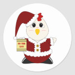 Pollo Huggable Santa Pegatina Redonda