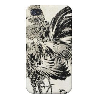 Pollo japonés fresco del gallo de la tinta del uki iPhone 4 fundas