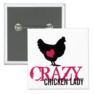 Pollo lindo con el corazón rosado pin cuadrado