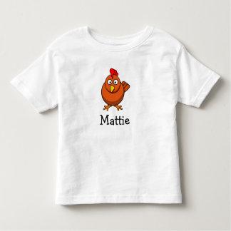 Pollo lindo del dibujo animado personalizado con playera de bebé