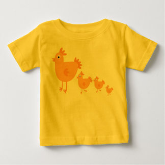 Pollo lindo del dibujo animado y camiseta infantil playera