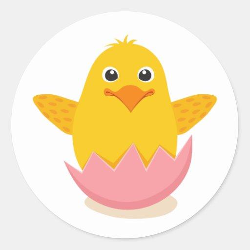 Pollo lindo que se sienta en pegatinas quebrados pegatina redonda