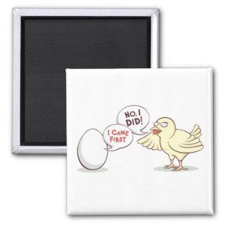¿Pollo o el huevo? Imán Cuadrado