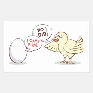 ¿Pollo o el huevo? Pegatina Rectangular
