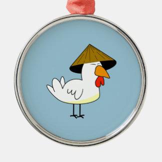 Pollo oriental adorno navideño redondo de metal