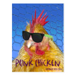 Pollo punky tarjeta postal