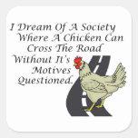 Pollo que cruza el camino calcomania cuadradas
