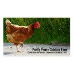 Pollo que cruza la granja del huevo del camino tarjetas de visita