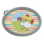 Pollo; Rayas brillantes del arco iris Hebilla Cinturon Oval