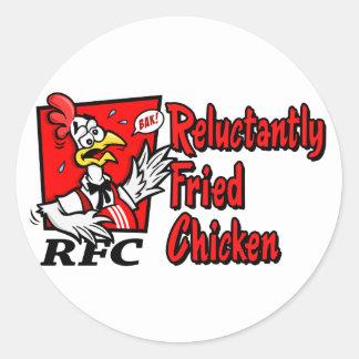 Pollo reacio frito pegatinas redondas