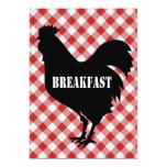 Pollo Silo en el desayuno rojo del fondo del Invitación 12,7 X 17,8 Cm