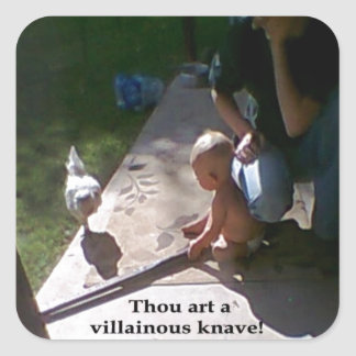 Pollo villano pegatina cuadrada