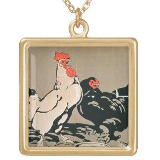 Pollo y gallina (litho del color) pendientes personalizados