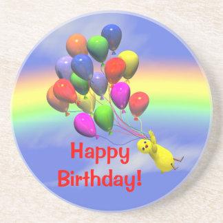 Pollo y globos del feliz cumpleaños posavasos personalizados
