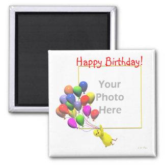 Pollo y globos (marco del cumpleaños de la foto) imán cuadrado