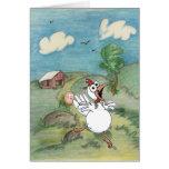 Pollo y huevo del dibujo animado del día de madre tarjeta de felicitación