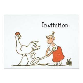 """Pollo y huevo invitación 5"""" x 7"""""""
