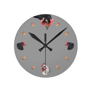 Pollo y huevo reloj de pared