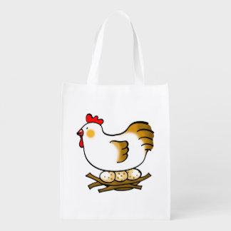 pollo y huevos de la granja bolsas de la compra