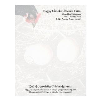 Pollo y huevos negros membretes personalizados