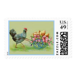 Pollo y polluelos de Pascua del vintage en Timbres Postales
