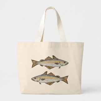 Pollock Fish Sketch Large Tote Bag