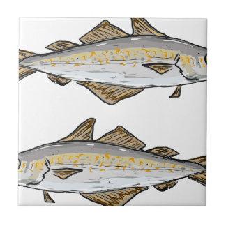 Pollock Fish Sketch Tile