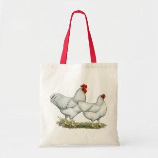Pollos blancos de la roca bolsas de mano