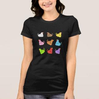 Pollos coloridos del dibujo animado - camiseta de