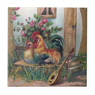 Pollos con la casa del laúd y del huevo azulejo cuadrado pequeño