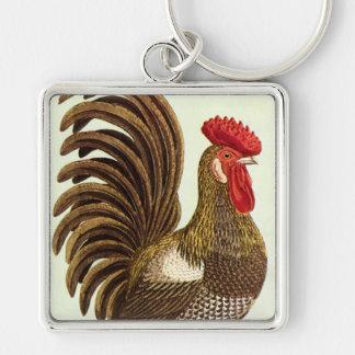 Pollos de los animales del campo del vintage, llavero cuadrado plateado