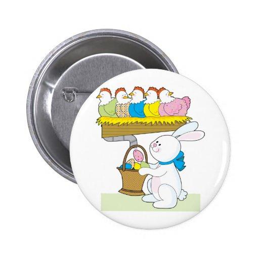 Pollos de Pascua del arco iris Pin Redondo 5 Cm
