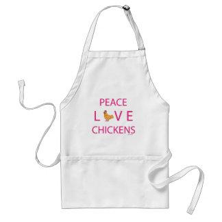 Pollos del amor de la paz delantal