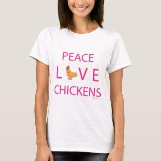 Pollos del amor de la paz playera