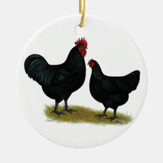 Pollos del gigante del jersey adorno redondo de cerámica