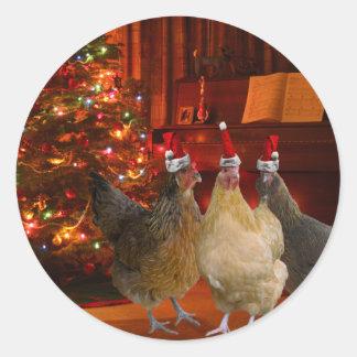 Pollos del navidad pegatina redonda