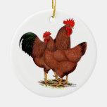 Pollos del rojo de la producción ornamento de reyes magos
