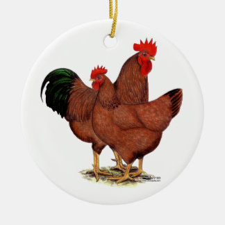 Pollos del rojo de la producción adorno redondo de cerámica