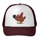 Pollos del rojo de la producción gorros bordados