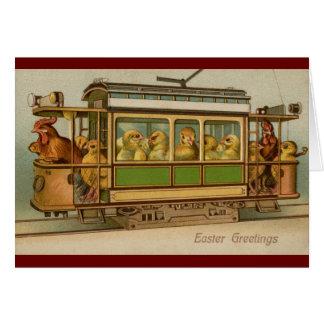 Pollos en el vintage Pascua del coche de carretill Tarjeta De Felicitación