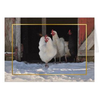 Pollos en la tarjeta de Navidad de la nieve