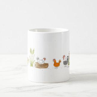 Pollos en la taza del prado