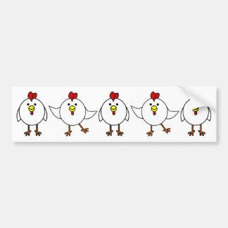 Pollos felices lindos etiqueta de parachoque
